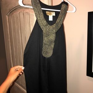 Empire Neck black and gold dress